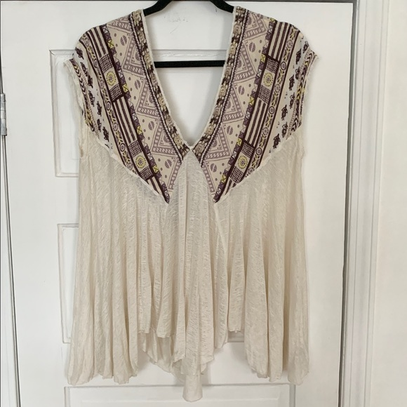 Free People White Flowy Top